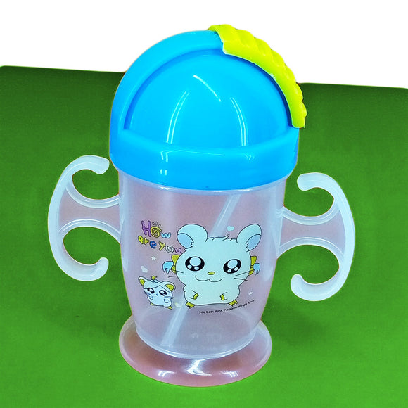 Bear Baby Plastic 200ml Bottle With Nipple Straw