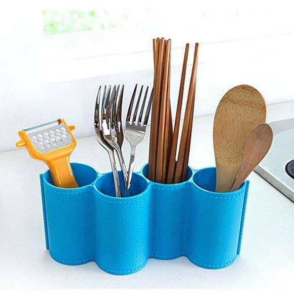 4-Sections Plastic Multi-Purpose Cutlery And Pen Holder
