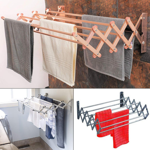 Foldable Aluminum Wall Mount 5 Layer Laundry Dryer Cloth & Towel Hanging Rack
