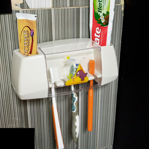 Sticky Vacuum Suction Tooth Brush & Paste Holder Organizer With Cover