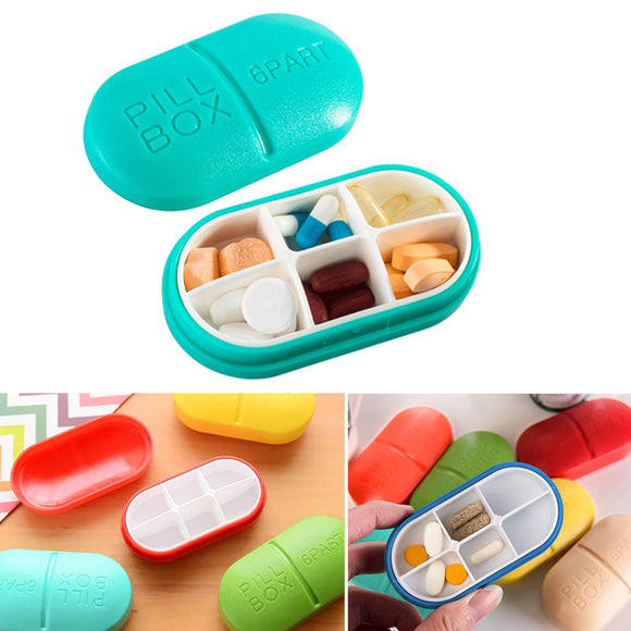 Capsule Style Plastic Medicine Pill Organizing Storage Box Case ( 6 Days Partitions ) Random Colors