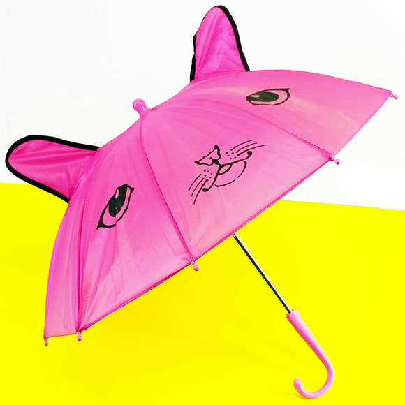 Kids' Small Size Cartoon Parachute Umbrella With Ears