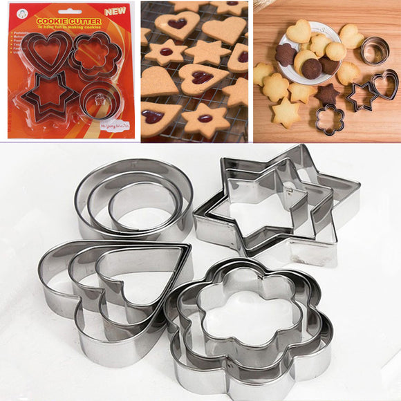 12pcs/Set Stainless Steel Cookie Cutter ( 4 Shapes)