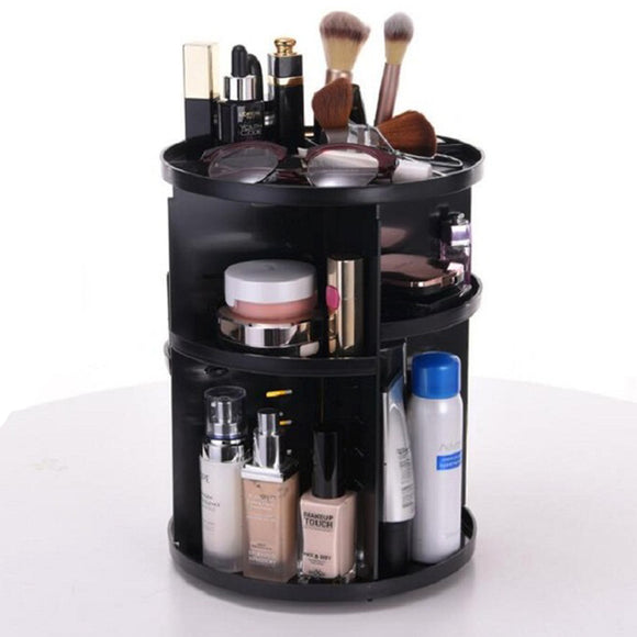 360' Degree Rotating Round Cosmetics Organizer ( Black )