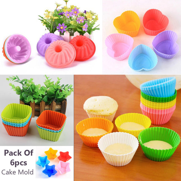 Pack Of 6pcs Multi-color Silicon Cupcake Moulds