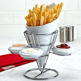Ceramic French Fries Serving Cup & 3-Sauce Dishes With Steel Stand