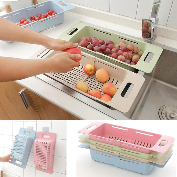 Retractable Plastic Sink Drain Basket With Adjustable Length