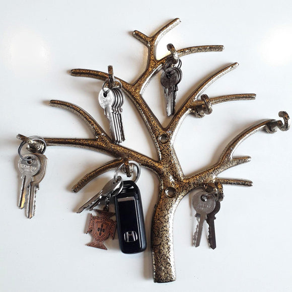 Wall-Mount Tree Style Metal Key Holder With 7 Hooks