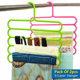 Pack Of 2pcs Multi-Purpose 5-Layer Plastic Scarf & Dupata Organizing Hanger ( Random Colors )