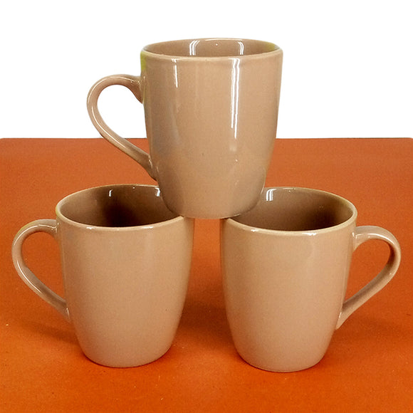 Pack Of 6pcs Medium Size Shiny Coffee Color Daily Use Ceramic Cups