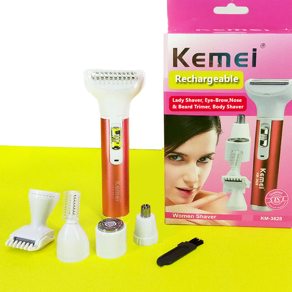 Kemei Km-3628 Multi-Function Compact Rechargeable Lady, Body Shaver & Beard, Nose, Eye-Brow Trimmer