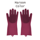 Pack Of 2pcs Silicon Dish Washing / Cleaning Kitchen Magic Gloves With Sponge ( Random Colors )