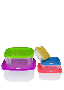 Square Multi color Plastic 5-Pcs Storage Boxes