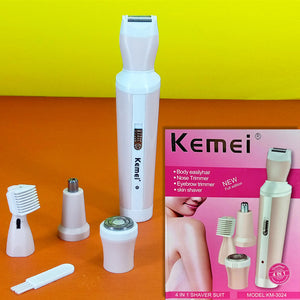 Kemei Km-3024 Multi-Function Compact Rechargeable Lady, Body Shaver & Beard, Nose, Eye-Brow Trimmer
