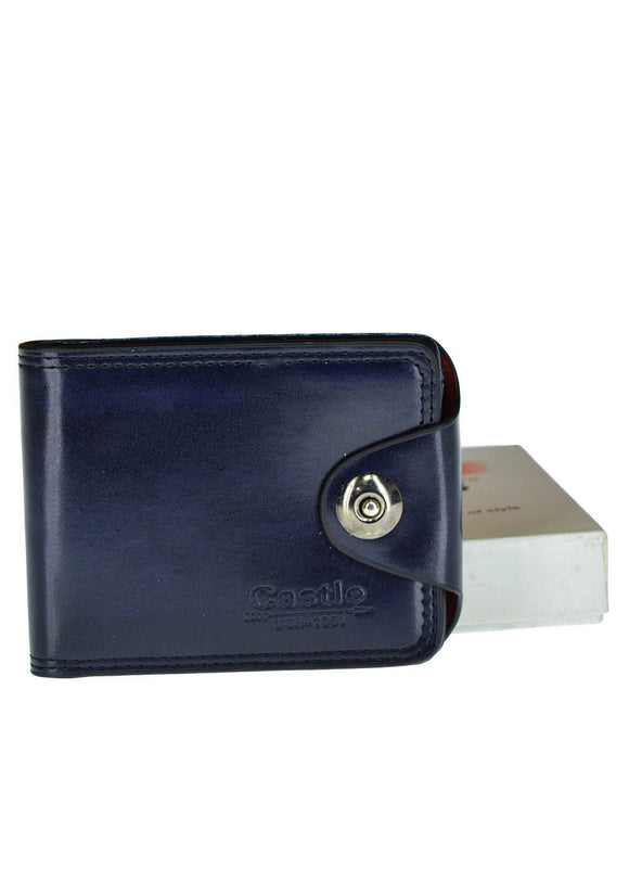 Castle Front Button Leather Wallet For Men