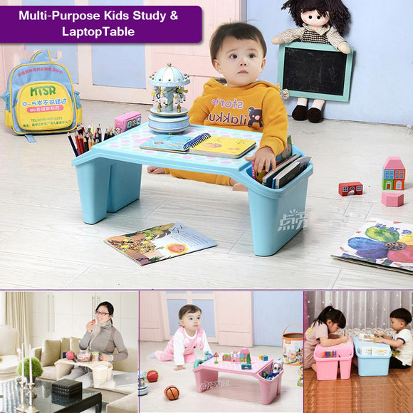 Multi-Purpose Plastic Kids Study & Laptop Table With Side Storage Boxes
