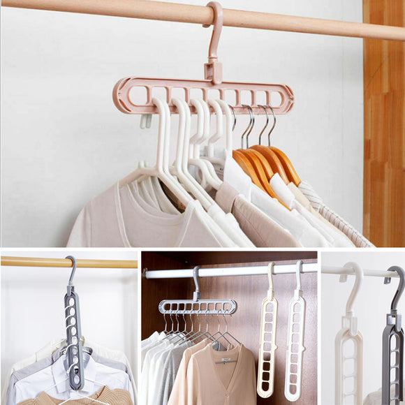 Pack Of 2pcs 9-Holes Hanger Holder & Organizer ( Vertical & Horizontal Usage)