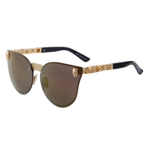 Gothic Gold Skull Cat-Eye Sunglasses - Steam Pumped