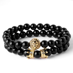 Crowned Gold King and Lion Bracelets - Steam Pumped