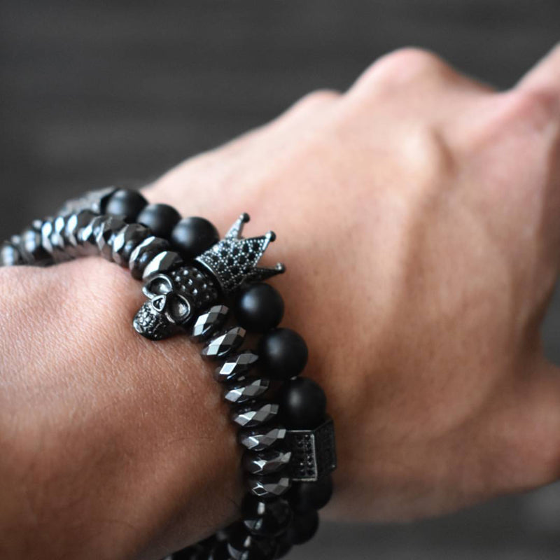 Crowned Titanium King and Skull Bracelets - Steam Pumped
