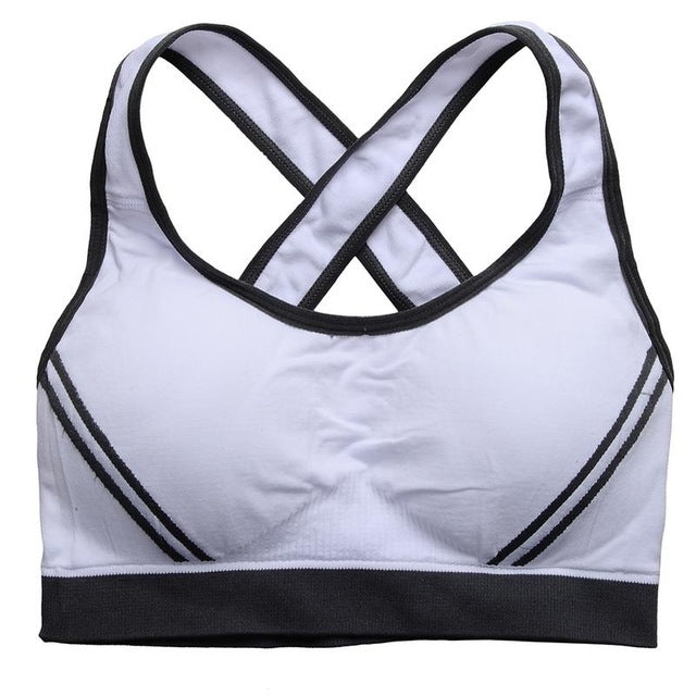 High Stretch Breathable Sports Bra Top Fitness Women Padded Sport Bra for Running Yoga Gym Seamless Crop Bra - Steam Pumped