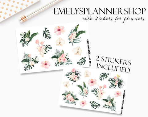Tropical Summer Flowers Sticker Set 2995