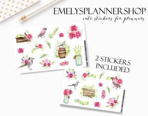 Spring Birds Planner Stickers 2982