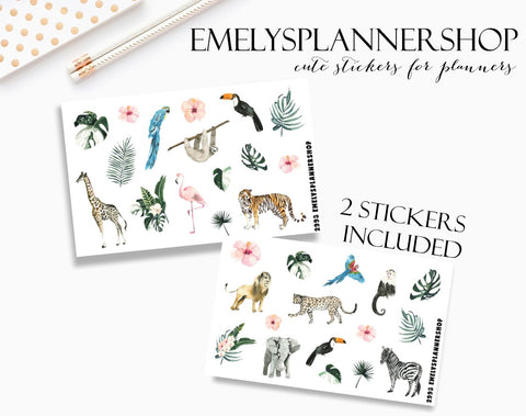 Jungle Animals Planner Stickers 2993