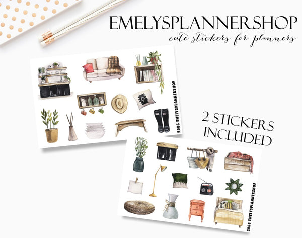 Home Living Planner Stickers 2986