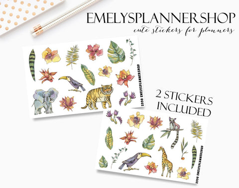 Tropical Animals Planner Stickers 2990