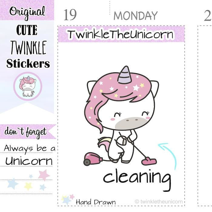 A011 | vacuum cleaning stickers TwinkleTheUnicorn