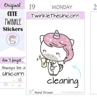 A012 | cleaning planner stickers TwinkleTheUnicorn