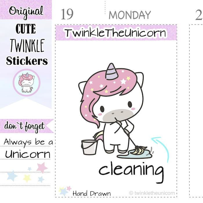 A015 | cleaning planner stickers TwinkleTheUnicorn