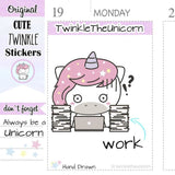A020 | work stickers TwinkleTheUnicorn