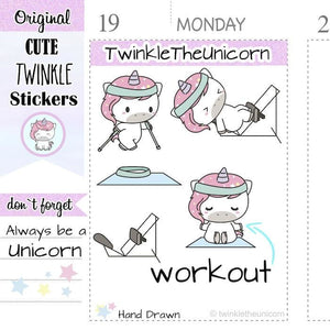 A024 | unicorn workout planner stickers TwinkleTheUnicorn