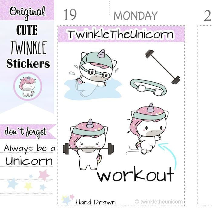 A025 | kawaii workout planner stickers TwinkleTheUnicorn