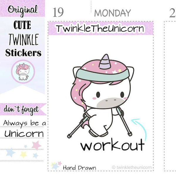 A027 | unicorn walking planner stickers TwinkleTheUnicorn