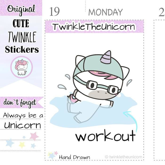 A031 | unicorn swimming planner stickers TwinkleTheUnicorn
