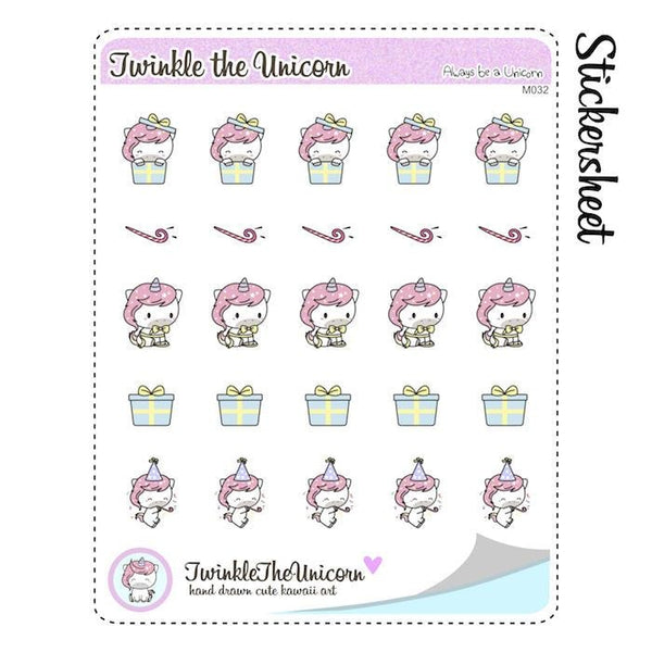 A032 | birthday planner stickers TwinkleTheUnicorn