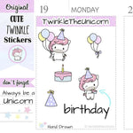 A033 | birthday stickers TwinkleTheUnicorn