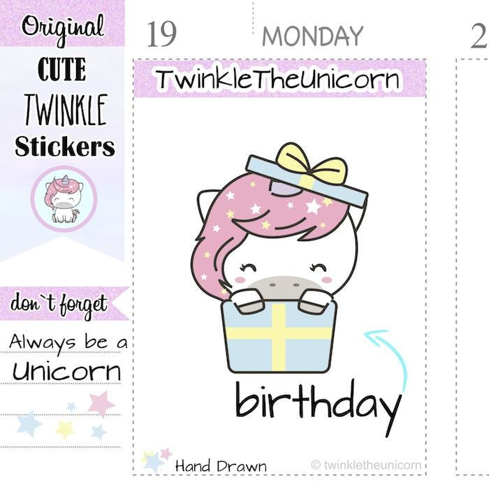 A034 | birthday planner stickers TwinkleTheUnicorn