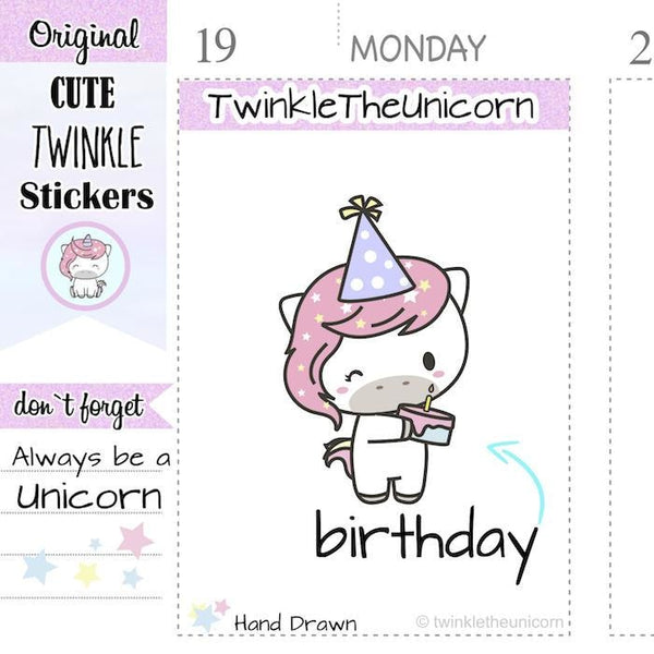A038 | birthday planner stickers TwinkleTheUnicorn