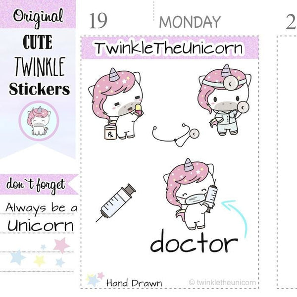 A043 | doctor stickers TwinkleTheUnicorn