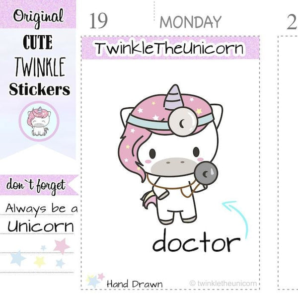 A046 | doctor planner stickers TwinkleTheUnicorn