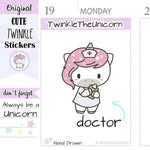 A053 | kawaii doctor planner stickers TwinkleTheUnicorn