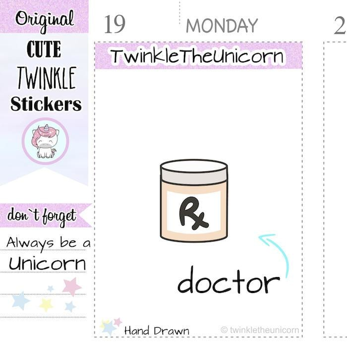 A056 | doctor stickers TwinkleTheUnicorn