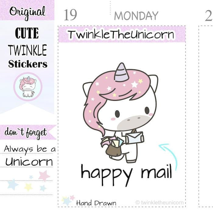 A065 | happy mail planner stickers TwinkleTheUnicorn
