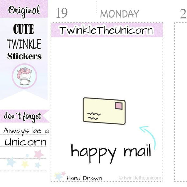 A074 | happy mail planner stickers TwinkleTheUnicorn