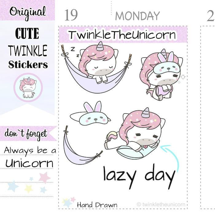 A077| lazy day stickers TwinkleTheUnicorn