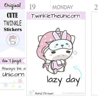 A083| day off stickers TwinkleTheUnicorn